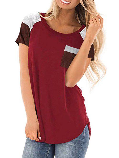 Online Color Block Chest Pocket Casual Tunic Tee