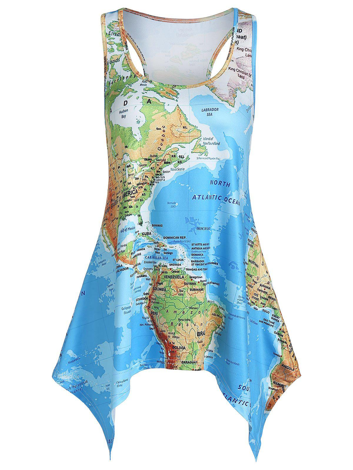 Shops World Map Print Handkerchief Tank Top
