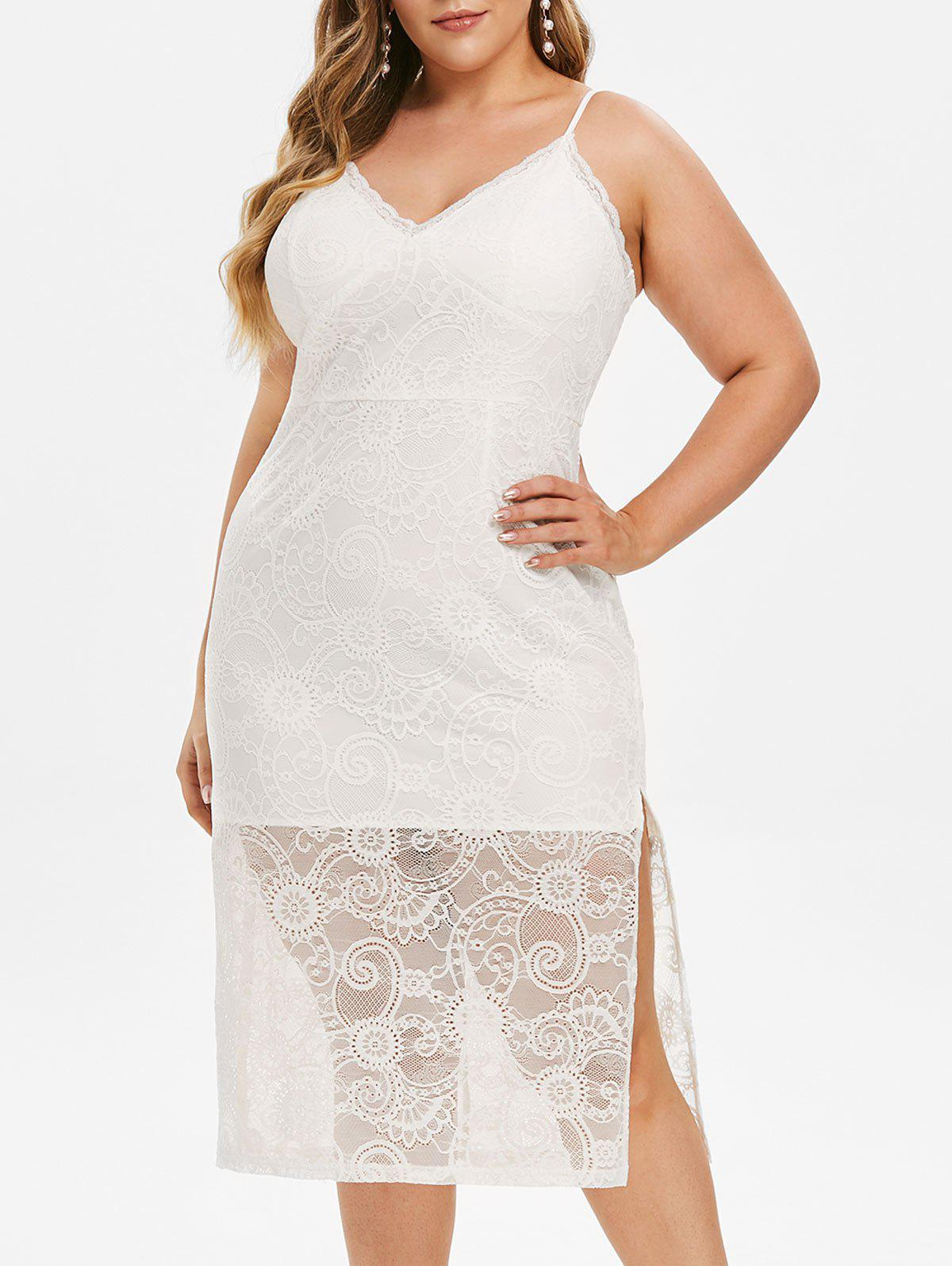 Best Plus Size High Slit Lace Bodycon Dress