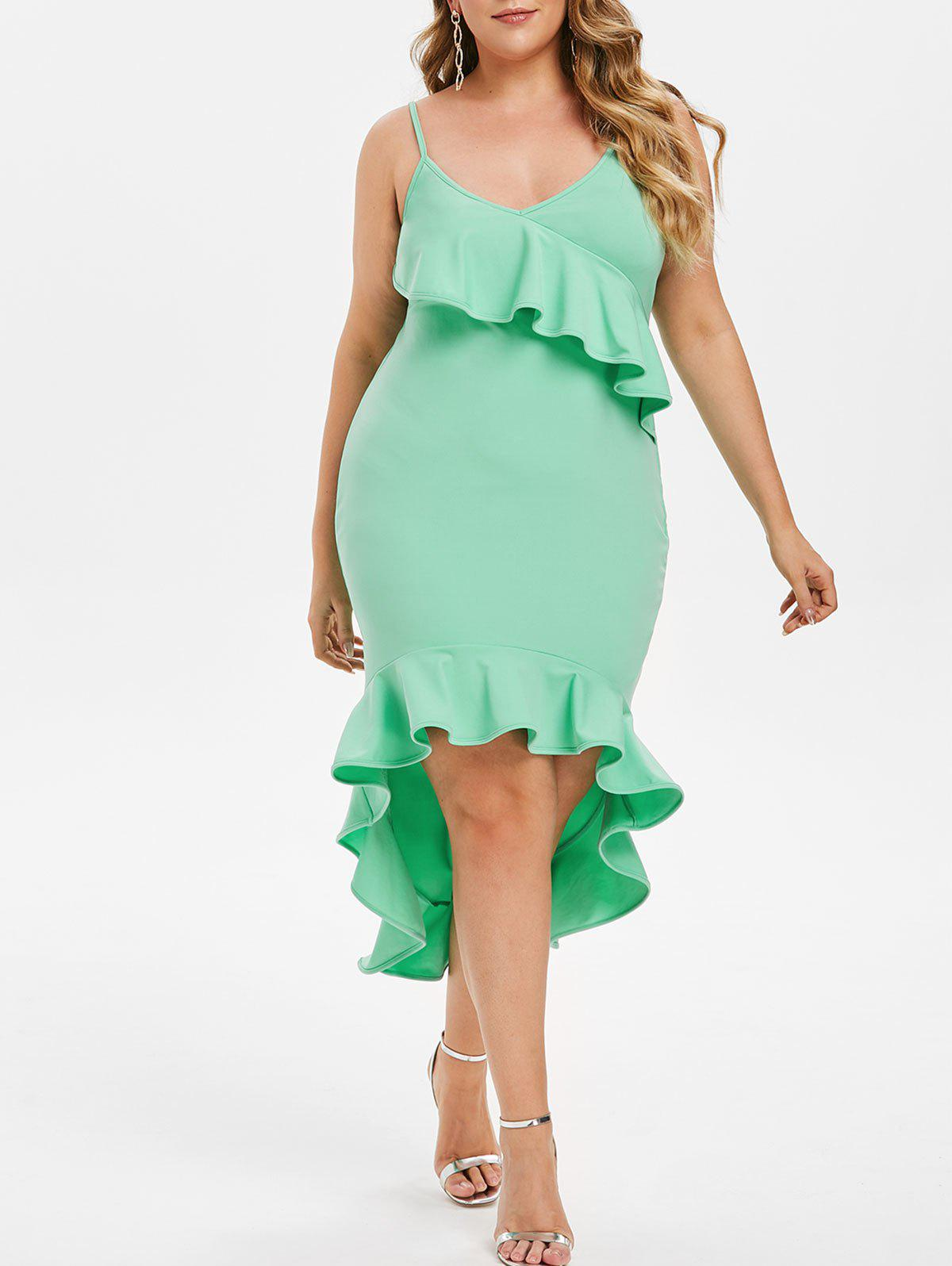 Store Plus Size High Low Ruffle Midi Bodycon Dress