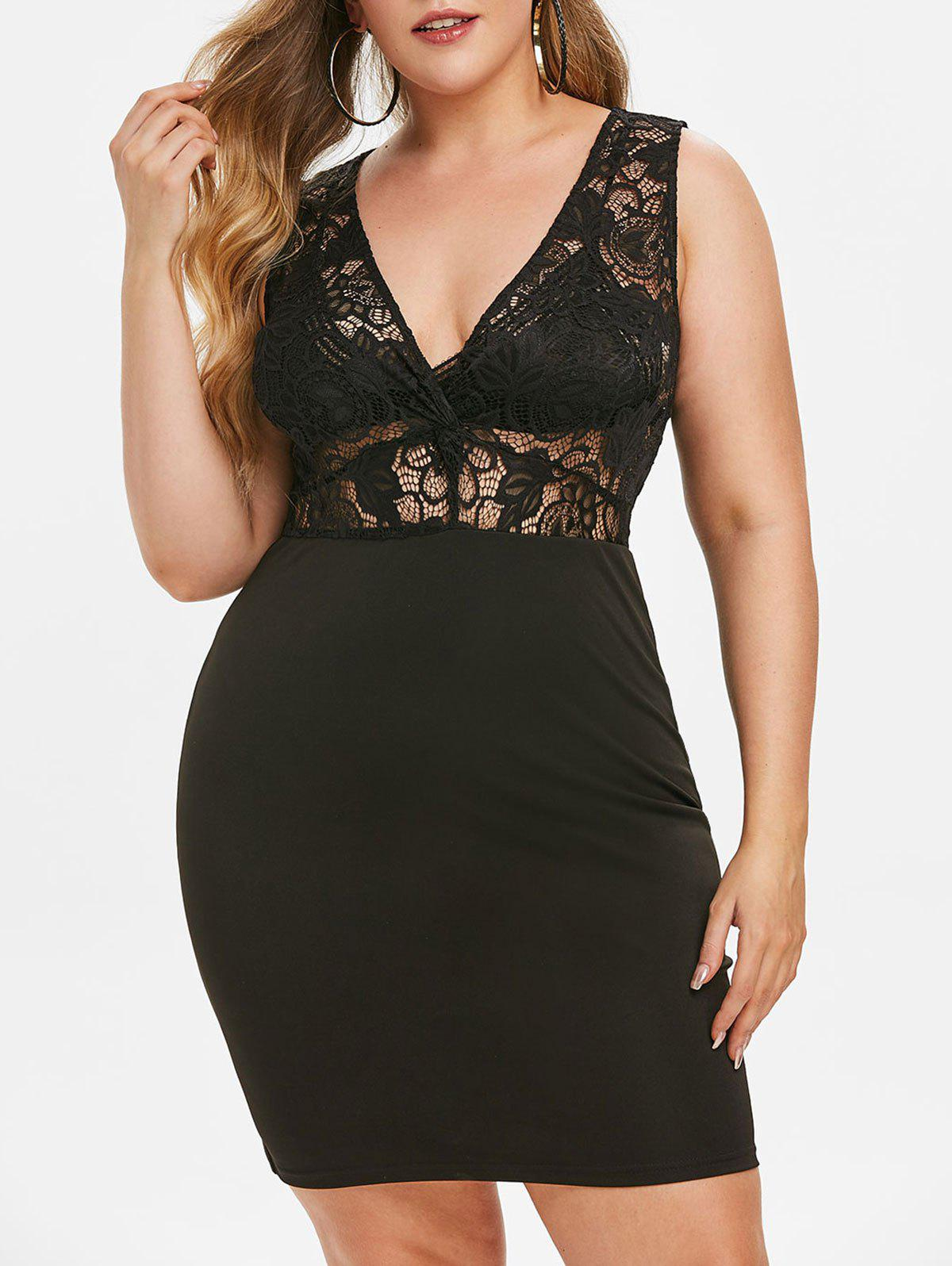 New Plus Size Plunge Lace Insert Bodycon Party Dress
