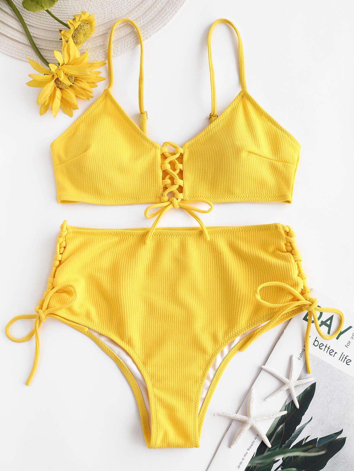 Online Ribbed Lace-up High Rise Bikini Swimsuit