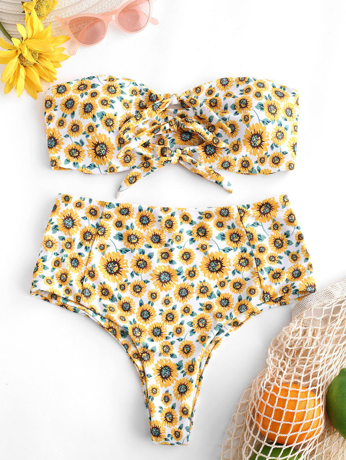Trendy Sunflower Print Tie Front High Rise Bikini Swimsuit