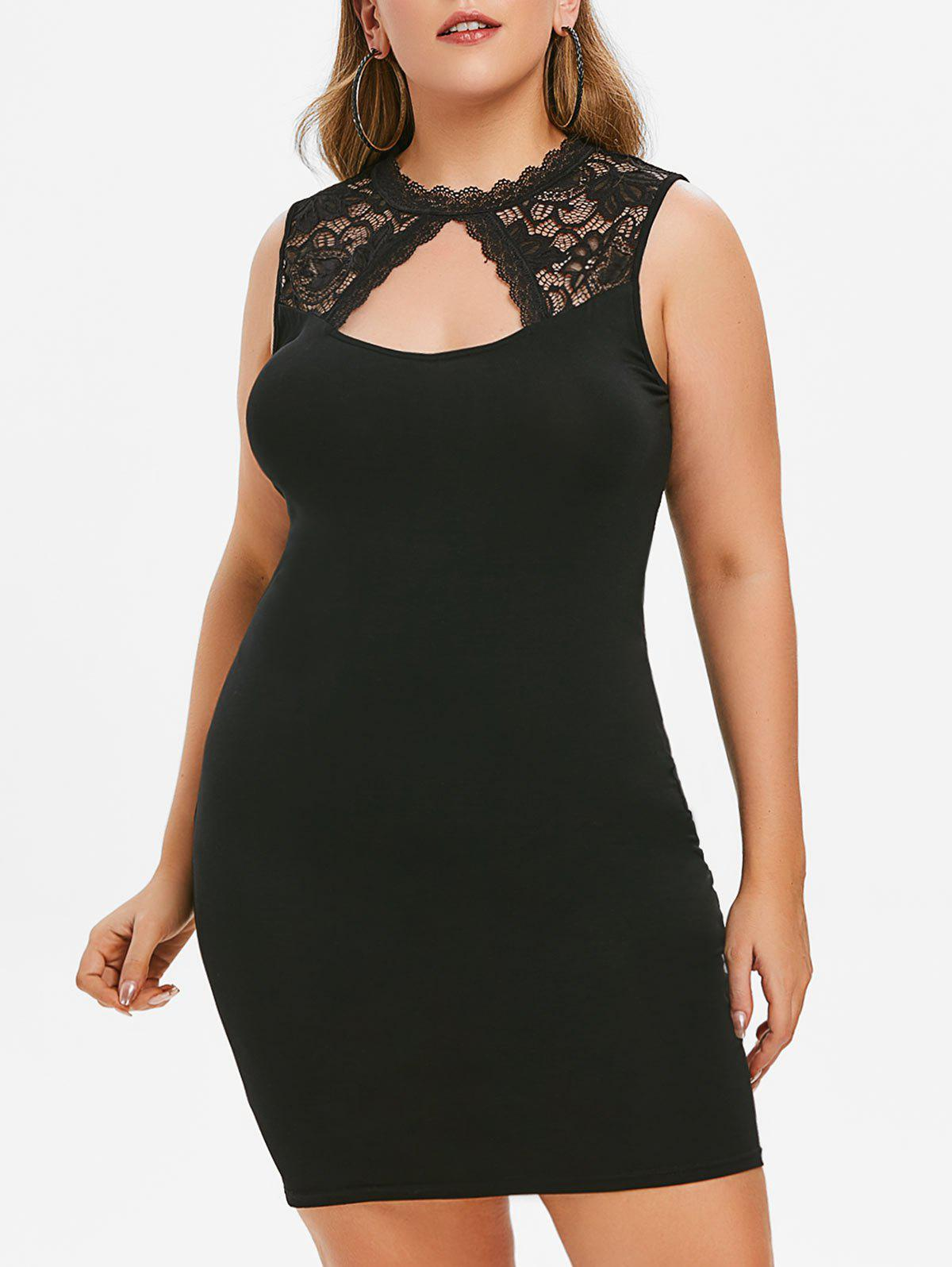 Outfit Plus Size Keyhole Sheer Lace Bodycon Dress