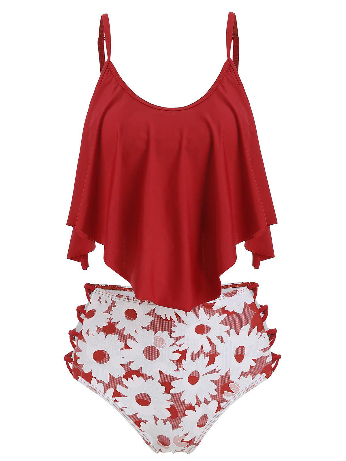 Fancy Flounce Floral Lattice High Waisted Tankini Swimsuit