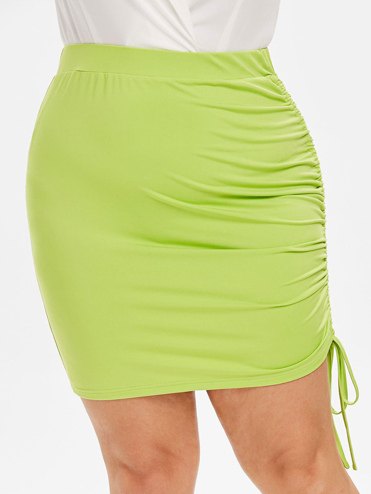 42% OFF] Plus Size High Rise Cinched Neon Skirt | Rosegal