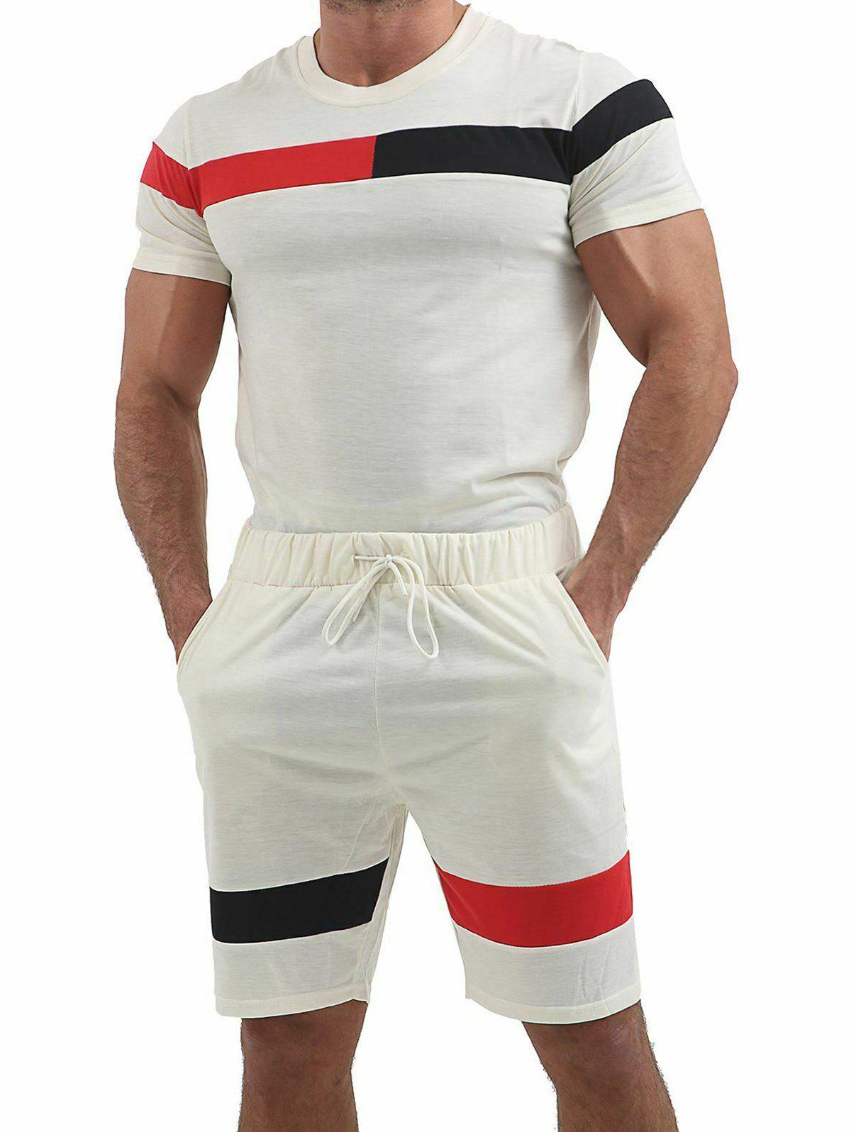 Sale Color Block Panel T-shirt and Shorts Suits