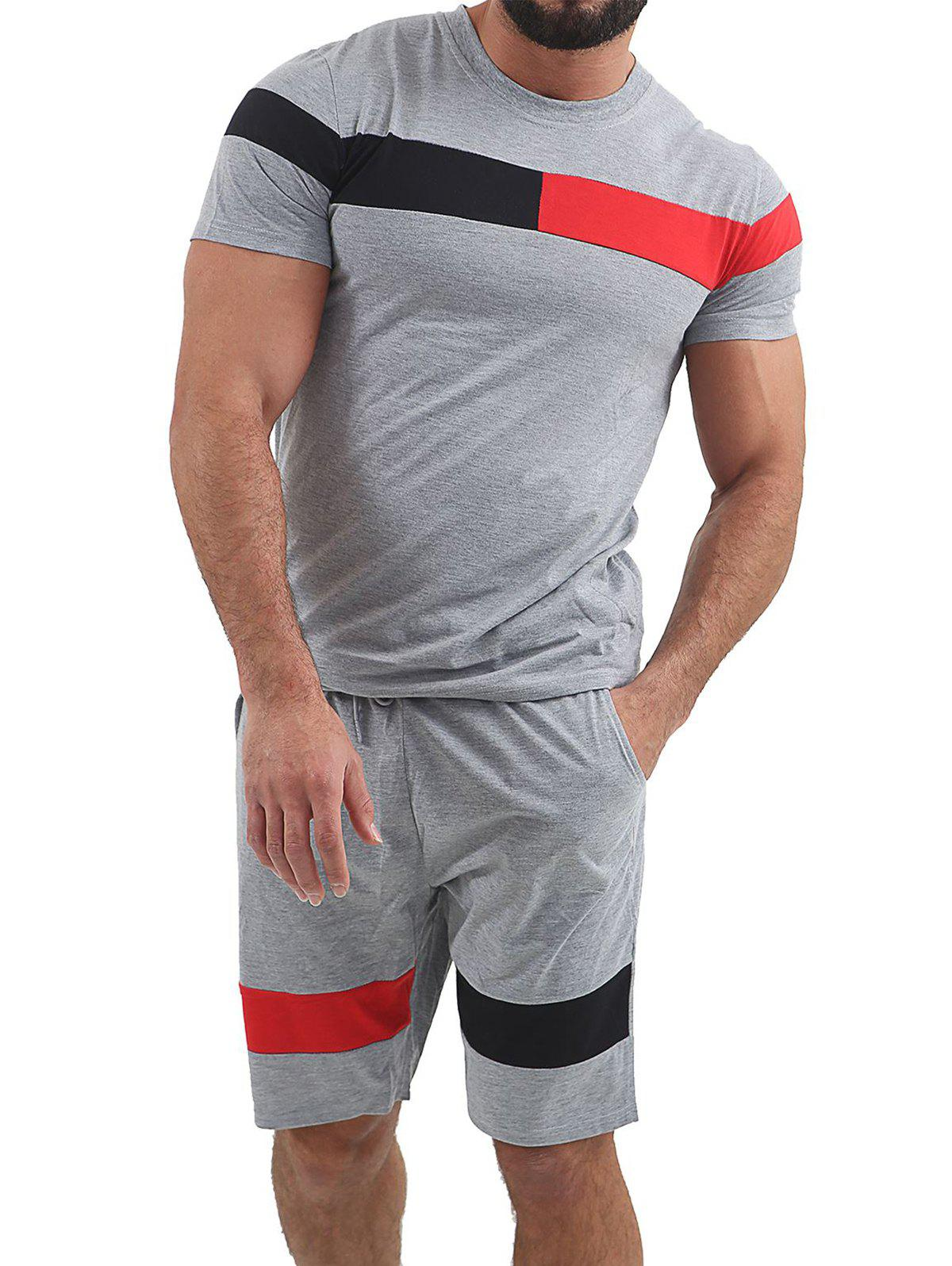 New Color Block Panel T-shirt and Shorts Suits