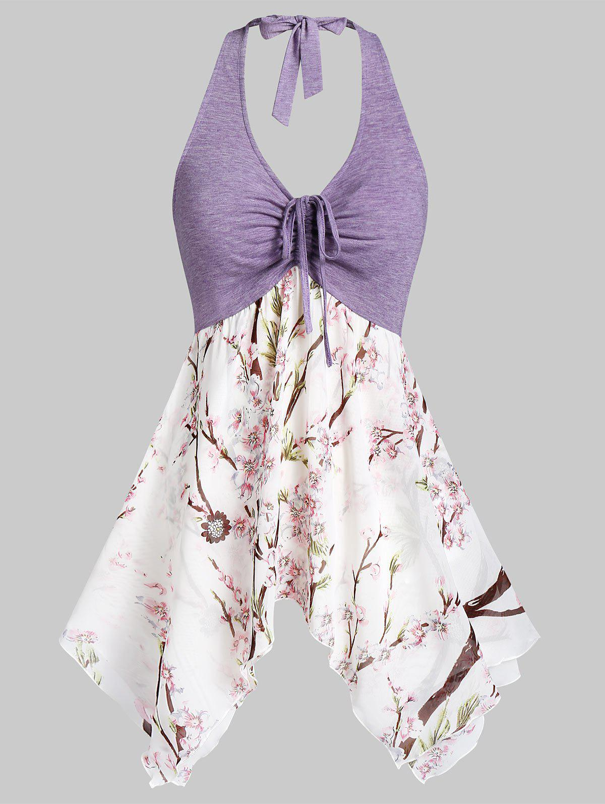 Trendy Asymmetric Flower Print Drawstring Halter Tank Top
