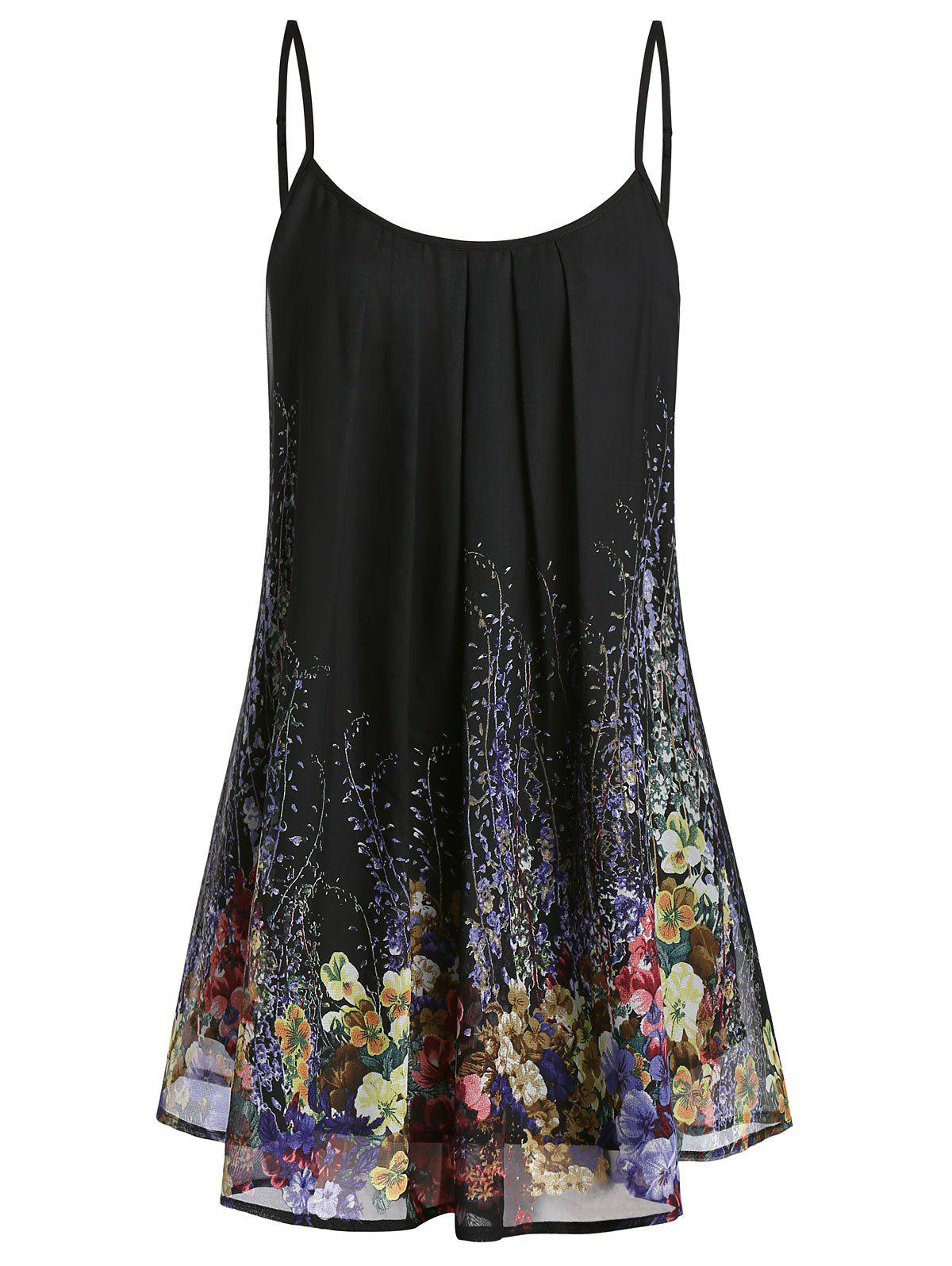 Trendy Plus Size Floral Print Pleated Cami Top