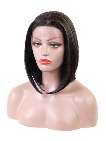 Short Middle Part Colormix Bob Synthetic Lace Front Wig