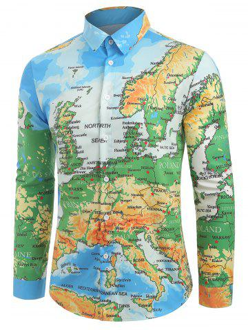 Detailed Colored Europe Map Print Button Shirt