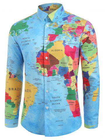Detailed World Map Print Graphic Shirt