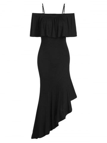 Asymmetrical Ruffled Maxi Bodycon Dress