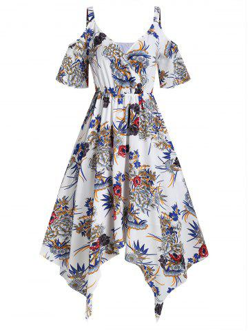 Cold Shoulder Plunge Ditsy Print Dress