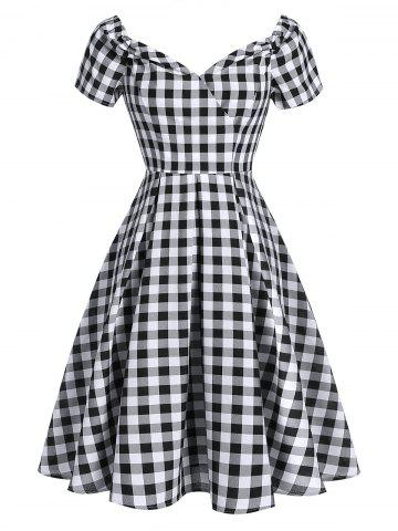 Short Sleeve Plaid Print Vintage Flare Dress