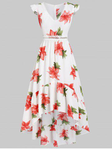 Cap Sleeve Floral Print Zippered Dress
