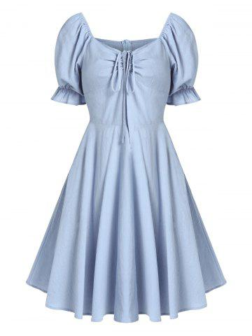 Zippered Sweetheart Collar Fit And Flare Dress