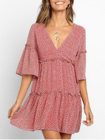 Water Drop Print Ruffle Smock Dress