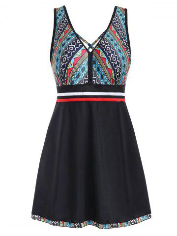 V Neck Printed Skirted One-piece Swimsuit