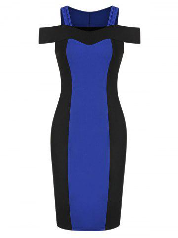 Cold Shoulder Contrast Sweetheart Collar Bodycon Dress
