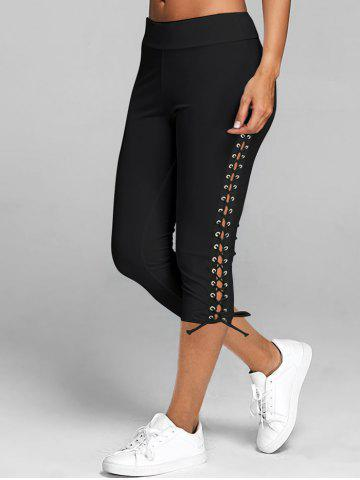 Lace Up Capri Leggings - BLACK - L