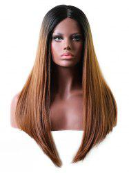 Middle Part Long Gradient Straight Lace Front Wig -