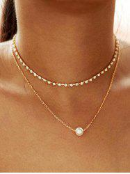 Faux Pearl Rhinestone Layered Necklace -