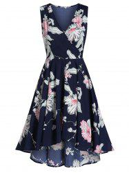 Ditsy Print Zippered Plunge Dress -