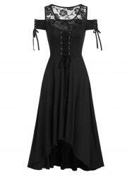 Lace Insert Cold Shoulder Lace-up Gothic High Low Dress -