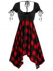 Sweetheart Collar Asymmetrical Checked Panel Dress -
