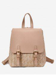 Straw Woven Casual Jointed Satchel Backpack -