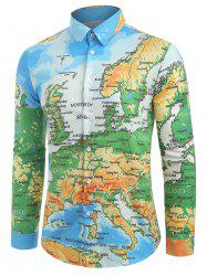 Detailed Colored Europe Map Print Button Shirt -