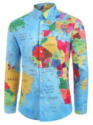 Detailed World Map Print Graphic Shirt -
