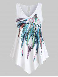 Plus Size Feather Print Graphic Tank Top -