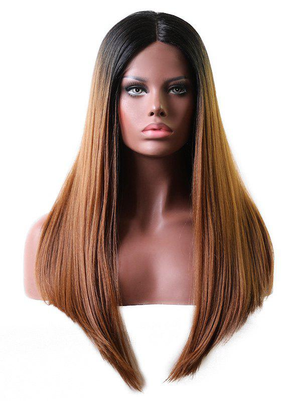 Outfit Middle Part Long Gradient Straight Lace Front Wig
