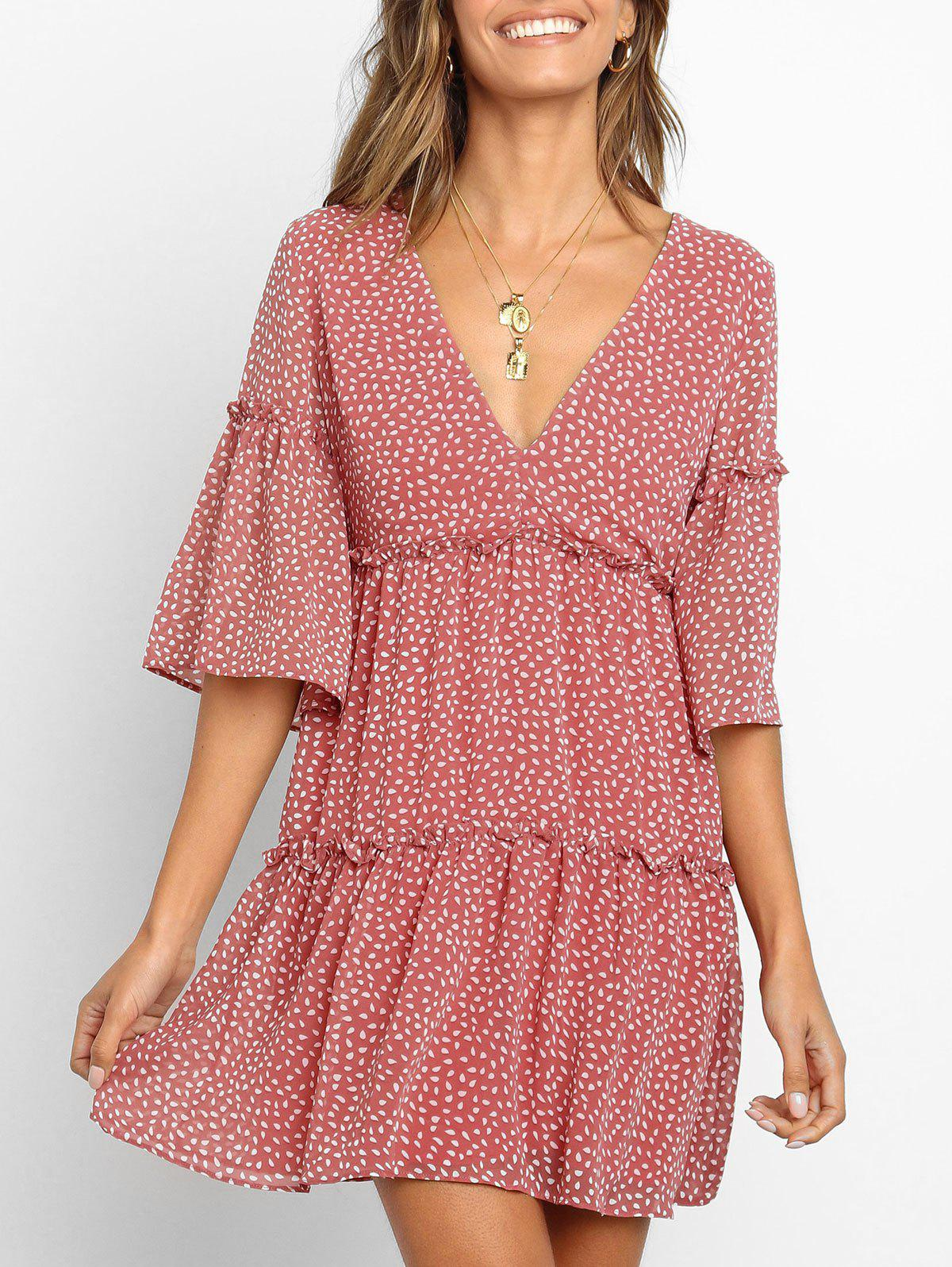Discount Water Drop Print Ruffle Smock Dress