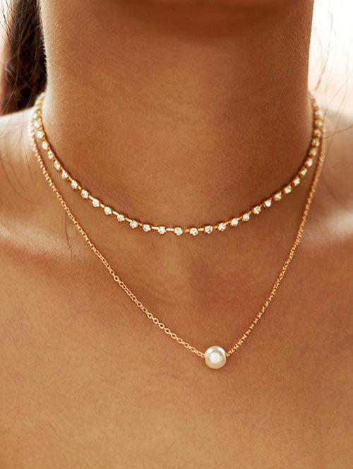 Faux Pearl Rhinestone Layered Necklace, Gold