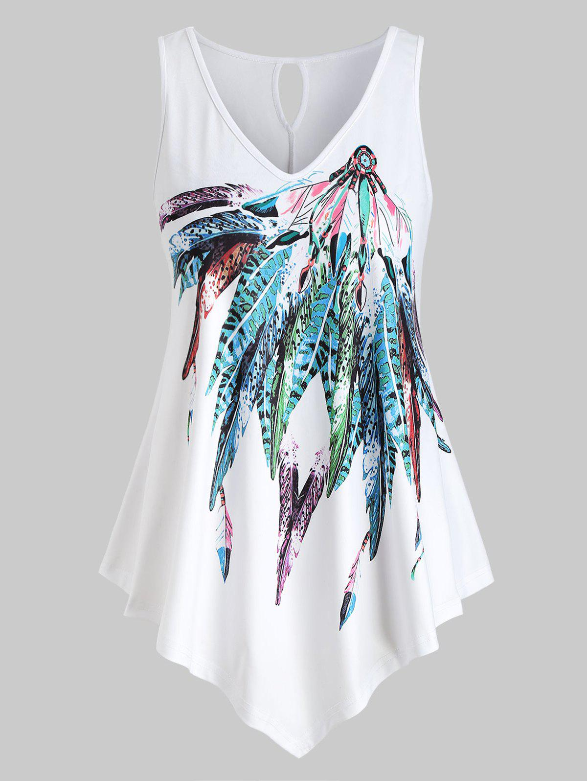 Trendy Plus Size Feather Print Graphic Tank Top