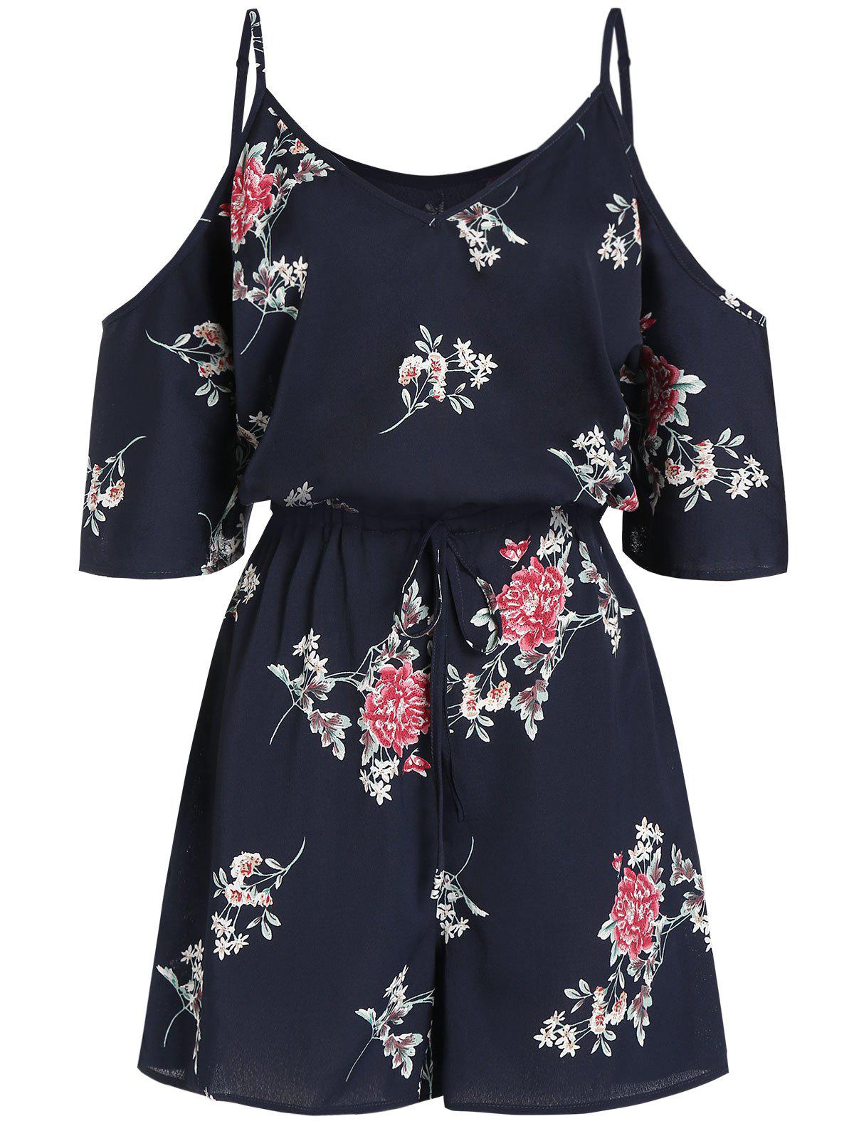 Discount Cami Cold Shoulder Floral Print Tie Dress