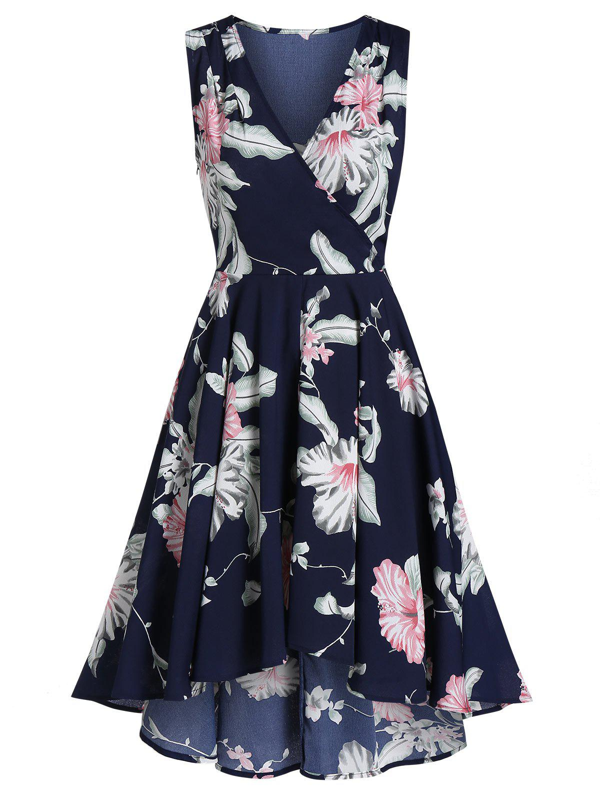 Fancy Ditsy Print Zippered Plunge Dress