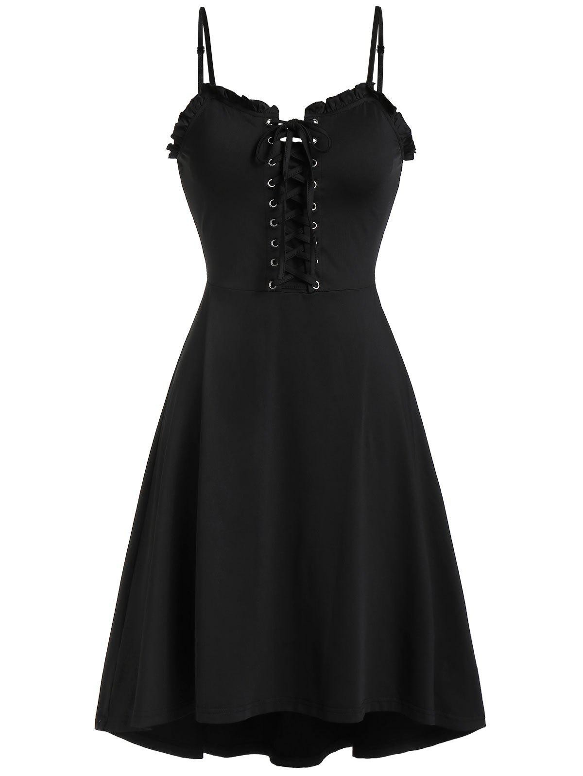 Shops Spaghetti Strap Lace Up Fit and Flare Dress