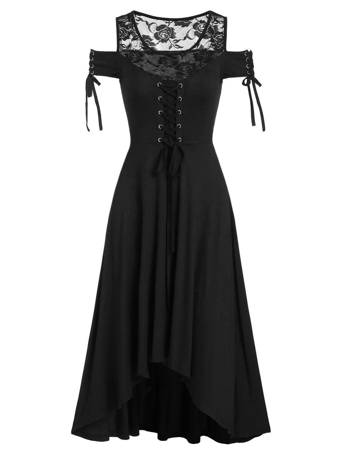 Chic Lace Insert Cold Shoulder Lace-up Gothic High Low Dress