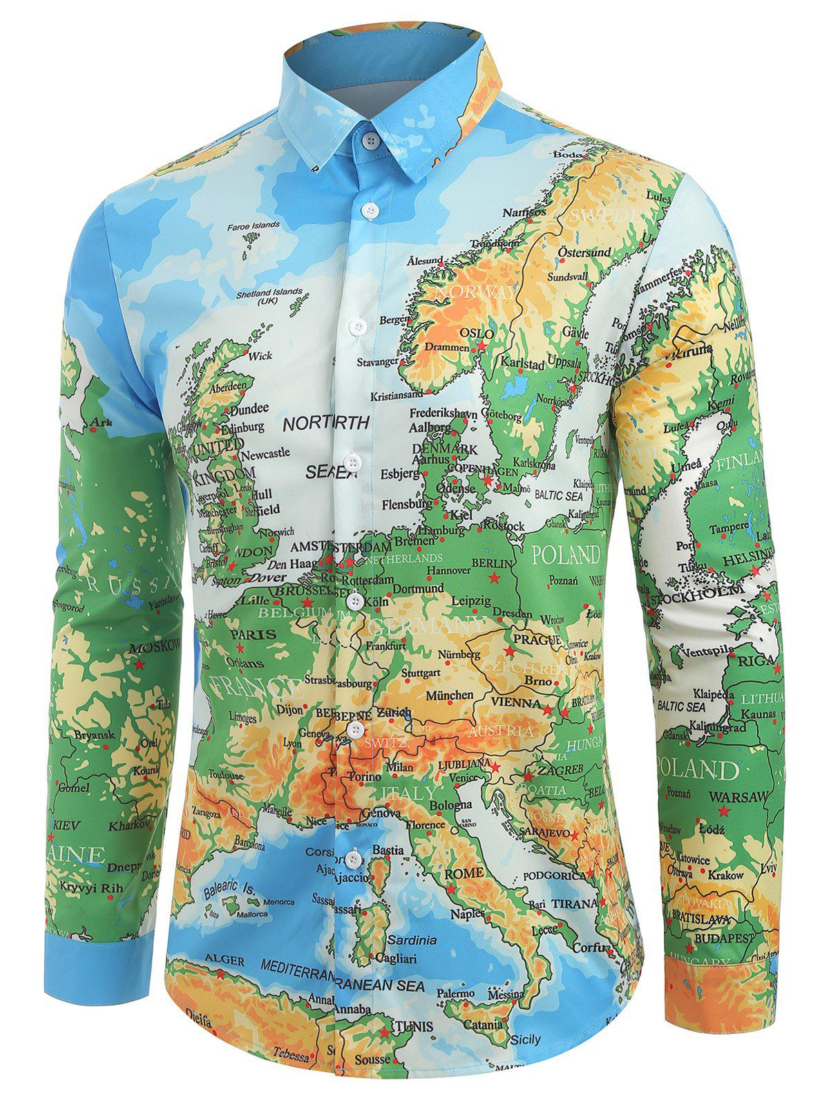 Shop Detailed Colored Europe Map Print Button Shirt