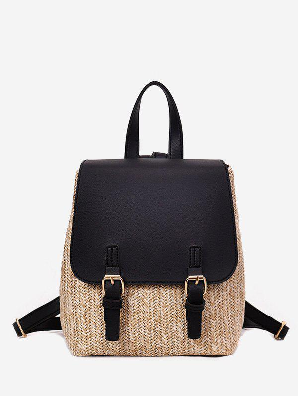 New Straw Woven Casual Jointed Satchel Backpack