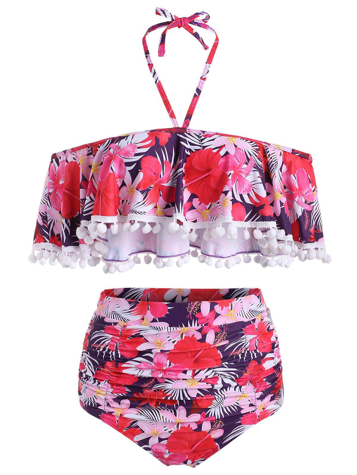 Affordable Pom-pom Floral Flounce High Waisted Bikini Swimsuit