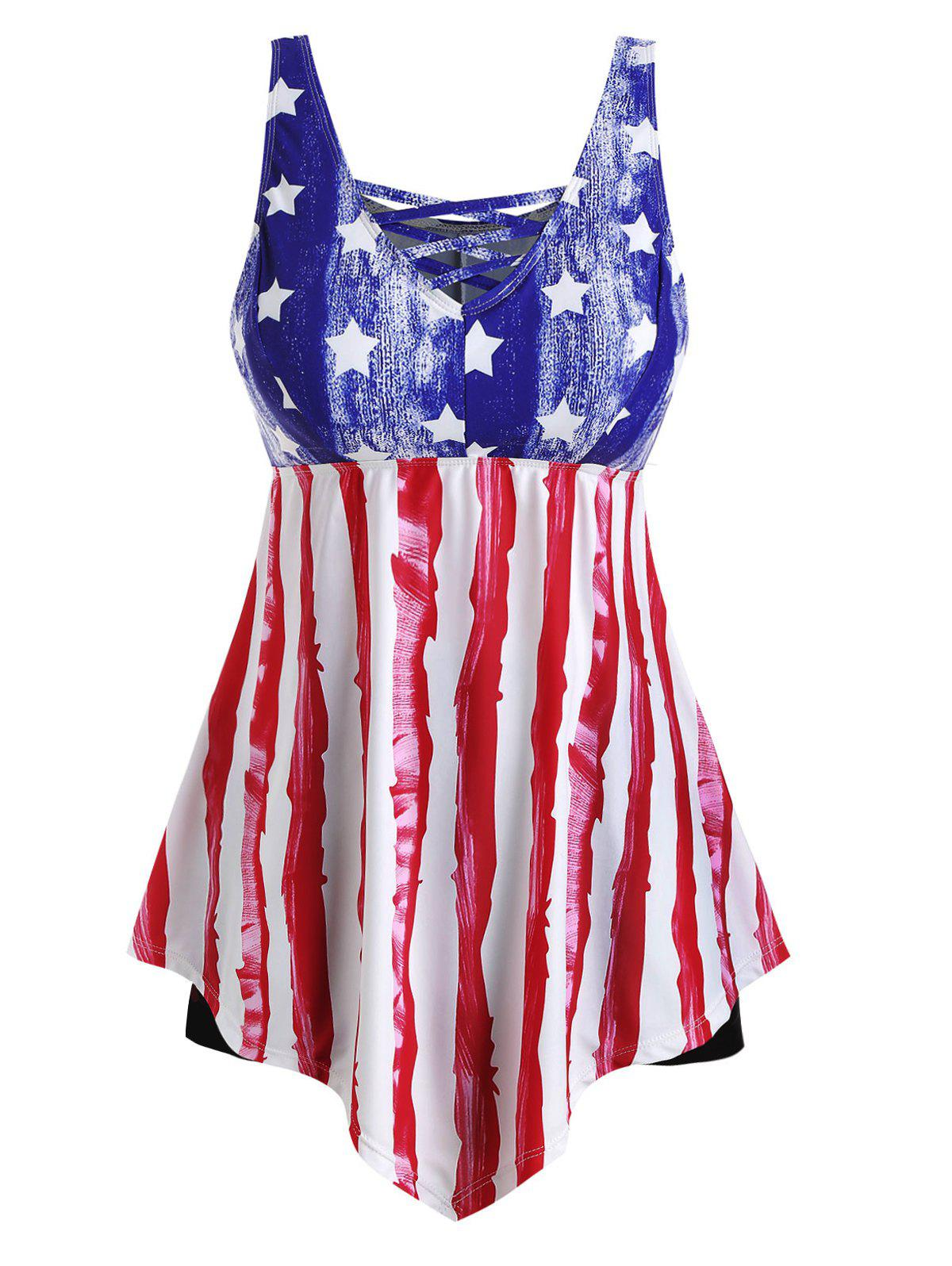 Store Contrast Lattice American Flag Plus Size Tankini Swimsuit
