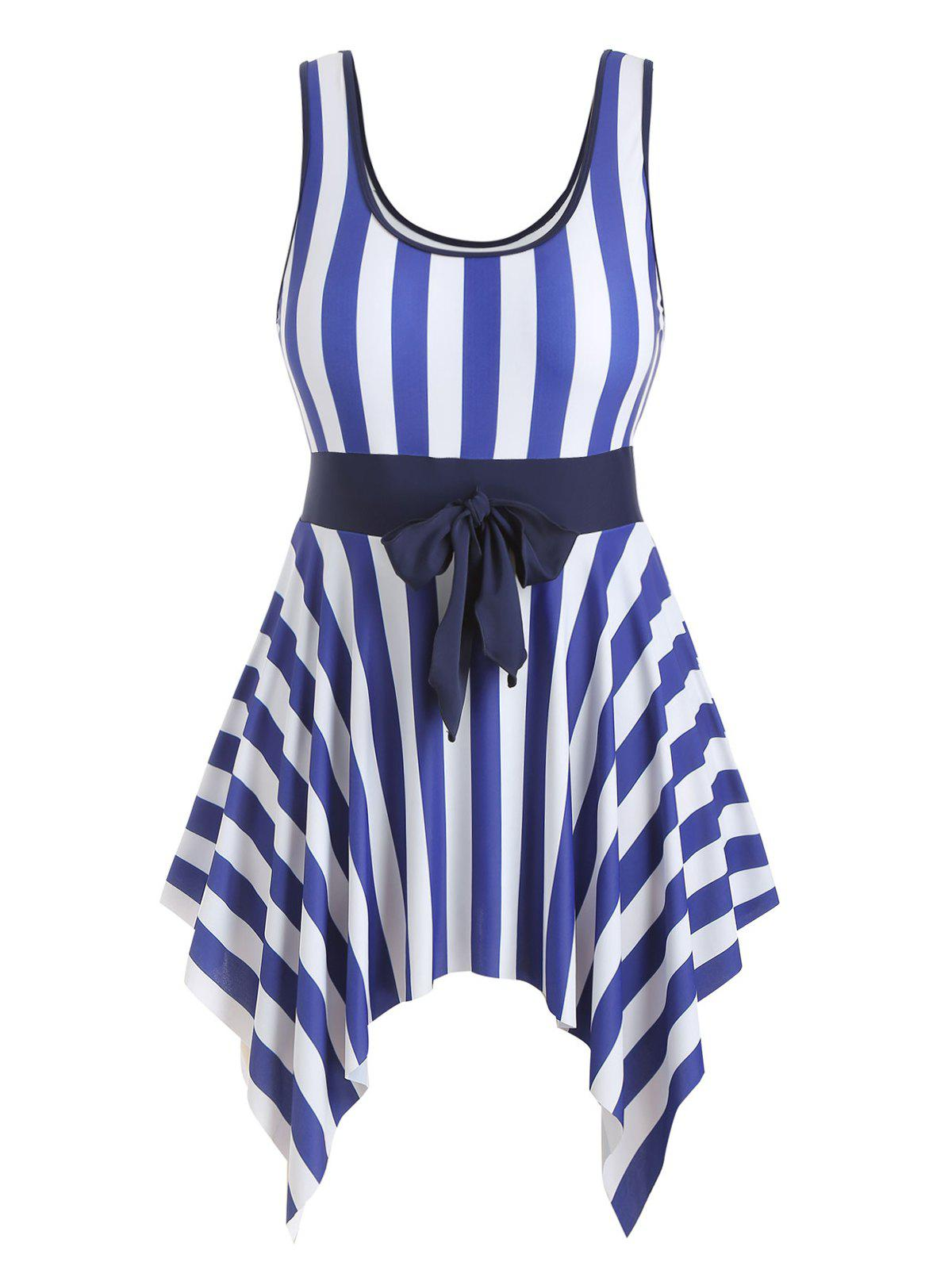 Outfits Handkerchief Stripes Knotted Plus Size Swimsuit Dress