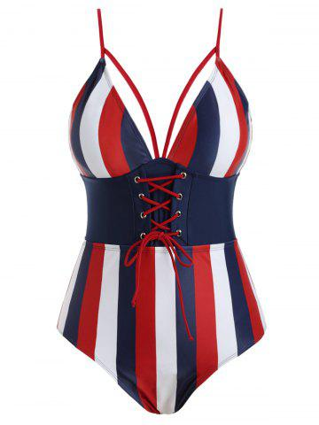 Strappy Stripes Lace Up Plus Size Swimsuit