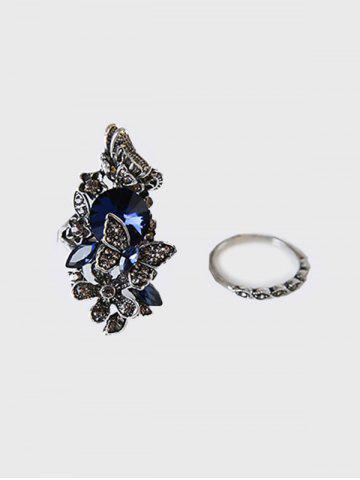 Two-piece Faux Crystal Butterfly Ring Set